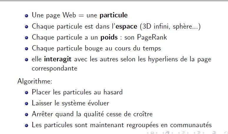 Le modele particulaire pour visualiser le web.